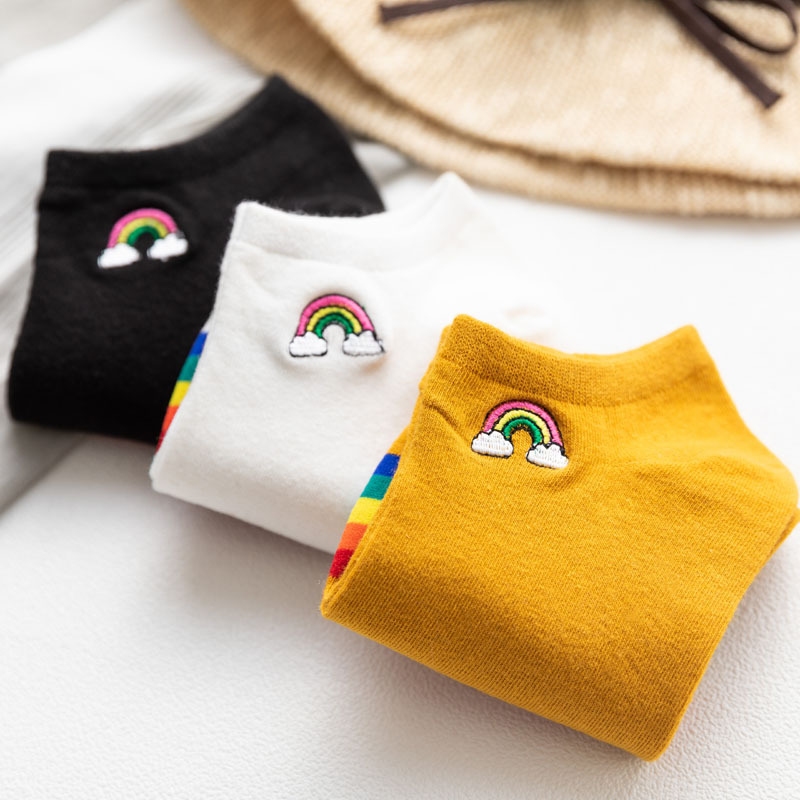 Bright Sunny Cotton Rainbow Bridge Women Ankle Socks Fashion Lovely Embroidery Colorful Socks High Quality Spring Summer Socks