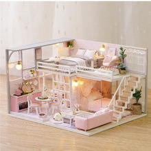 DIY Doll House Girlish Dream Miniature Furniture With Light Music Cover Gift Decoration Children Assemble Toy L025