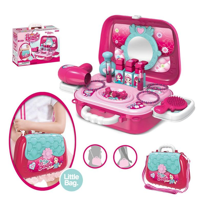 Kid Make Up Toys Pink Makeup Set Pretend Play Princess Hairdressing Simulation Plastic Toy For Girls Dressing Cosmetic
