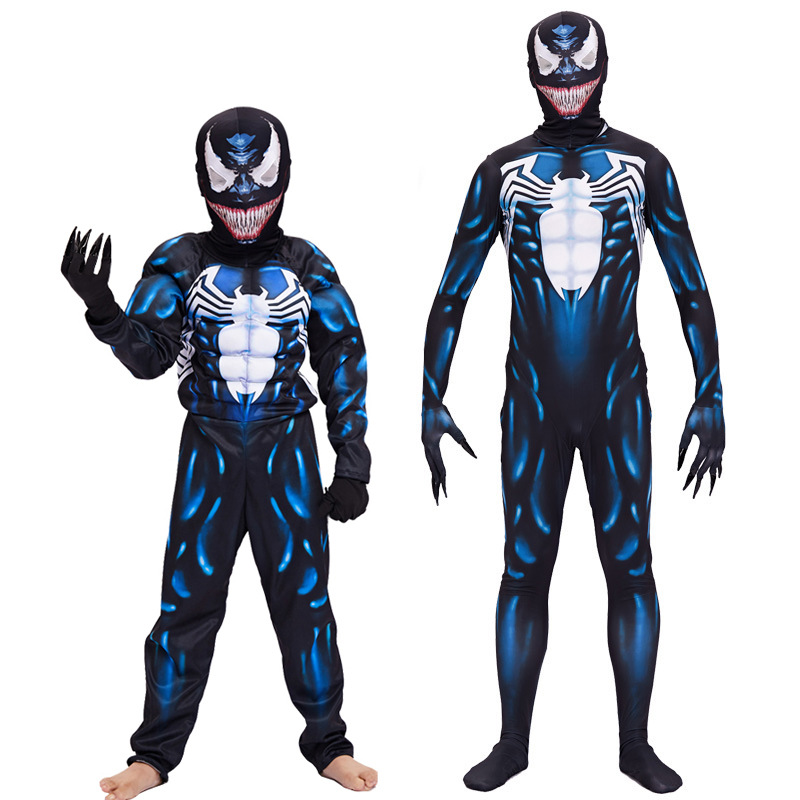 Spider-Man Venom Zentai Costume Adult Children Cosplay Leotard Muscle Show Clothing Carnival Halloween Clothes