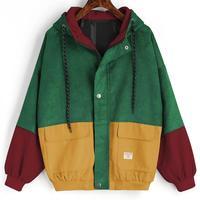 33b8224c0e3792 Outerwear Coats Jackets Corduroy Patchwork Oversize Jackets Autumn Jacket  Women Chaqueta Mujer Ceket Streetwear Coat Windbreaker