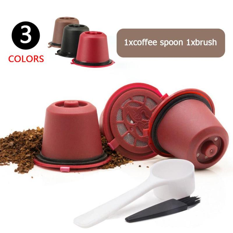 Refillable Reusable Nespresso Coffee Capsule With 1PC Plastic Spoon Filter Pod For Original Line Siccsaee Filters