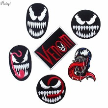 Pulaqi Venom Monster Marvel Movies Hero Badges Iron On For Clothes Super-hero Patches Kids Men Women T-shirt Decoration F
