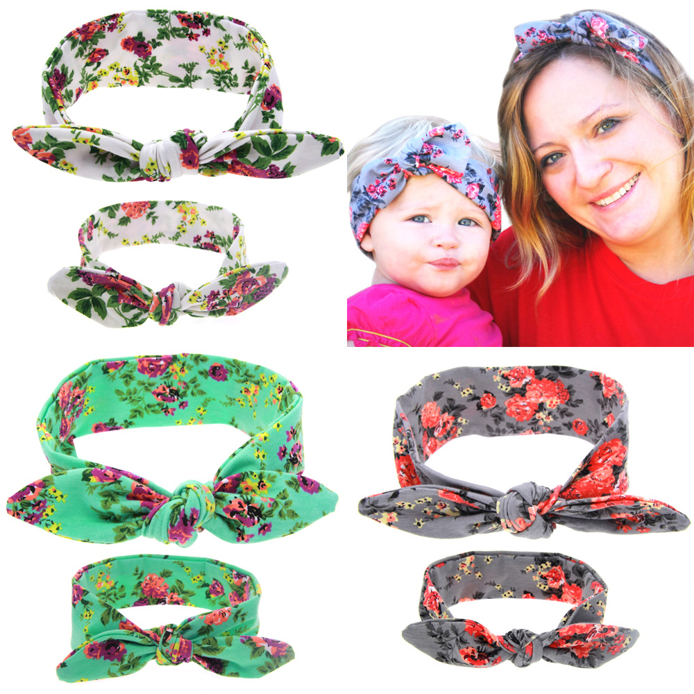 2Pcs//Set Matching Mom Daughter Floral Knotted Elastic Bowknot Headband Hairband
