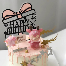 1PCs/Set Gift Pink Heart Cake Toppers Happy Birthday For Baby Shower Topper Wedding Personalized Decoration