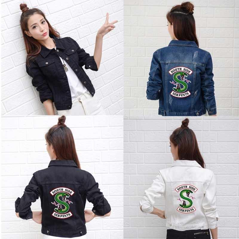 Riverdale Jeans Denim Jacket South Side Serpents Streetwear Tops Spring Jean Women Jacket Harajuku Hip Hop Denim Clothing Female