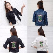 Riverdale Jeans Denim Jacke South Side Serpents Streetwear Tops Frühling Jean Frauen Jacke Harajuku Hip Hop Denim Kleidung Weibliche(China)