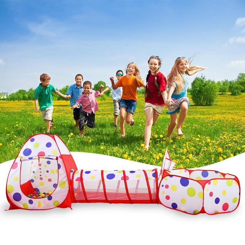 Portable enfants en plein air tente pliable jeu jouer enfants jouet tente Tunnel polyester tissu océan balle fosse piscine Blac Camping outil