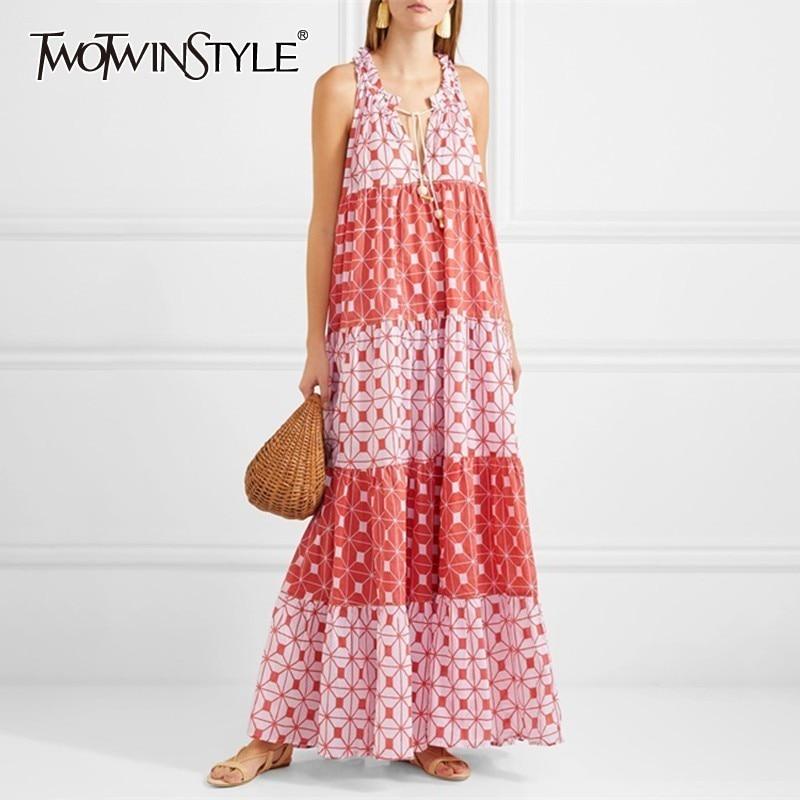 TWOTWINSTYLE Vintage Print Sleeveless Women Dress O Neck Off Shoulder Bandage Oversized Ankle Length Dresses Female