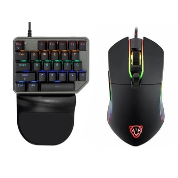 Motospeed Gaming Wired PC Gamer Mouse Keyboard Combos Mini Mechanical Backlit Keypad 27 Keycap 3500 DPI 6 Button Mause Game Mice