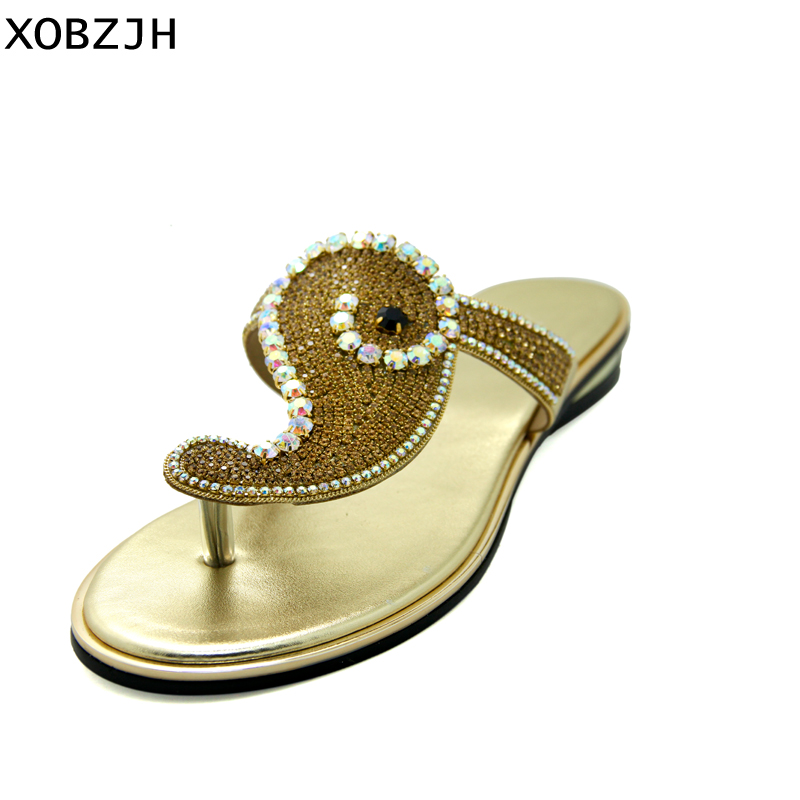 09c7f65f2e58b5 Summer Women Shoes Flat Sandals Luxury Ladies Rhinestone Shoes Woman 2019 gold  Flip Flops Sandals Slippers Women Lager Size 11-in Low Heels from Shoes on  ...