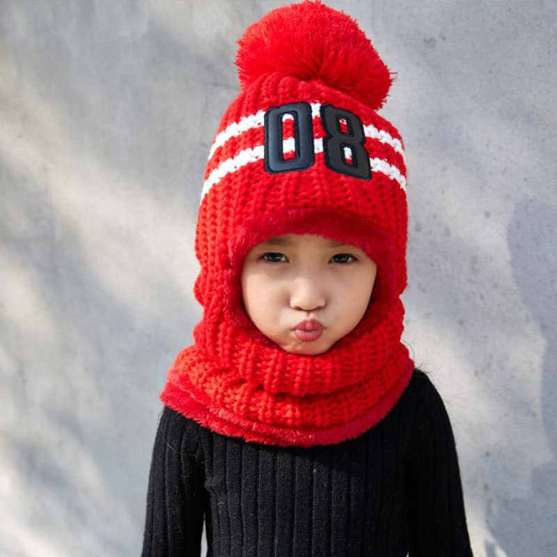 Winter Hats For Kids Pom Pom Hat Cap For Girls Boy Hat Balaclava Children  Knitted Beanie 38e636b89505
