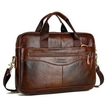 Cowhide Leather Briefcase Mens Genuine Leather Handbags Crossbody Bags Men's High Quality Luxury Business Messenger Bags Laptop Apparels Bags Business Bag Men's Bag