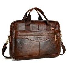Cowhide Leather Briefcase Mens Genuine Leather Handbags Crossbody Bags