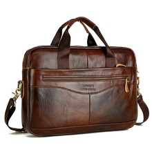Cowhide Leather Briefcase Mens Genuine Leather