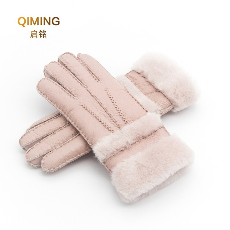 Winter Gloves Women Sheepskin Cashmere Fur Warm Gloves Ladies Full Finger Fashion Genuine Leather Mitten Five Finger Gloves #S1