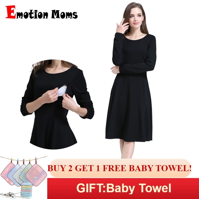 9dbbb0b23c6a8 Emotion Moms Solid Long Sleeve Maternity Clothes Patchwork Nursing Breast  feeding Dresses for Pregnant Women Long