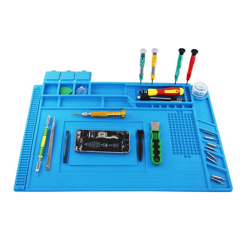 S160  45x30mm Magnetic Heat Insulation Silicone Soldering Pad Desk Mat Maintenance Platform For BGA Soldering Repair Station