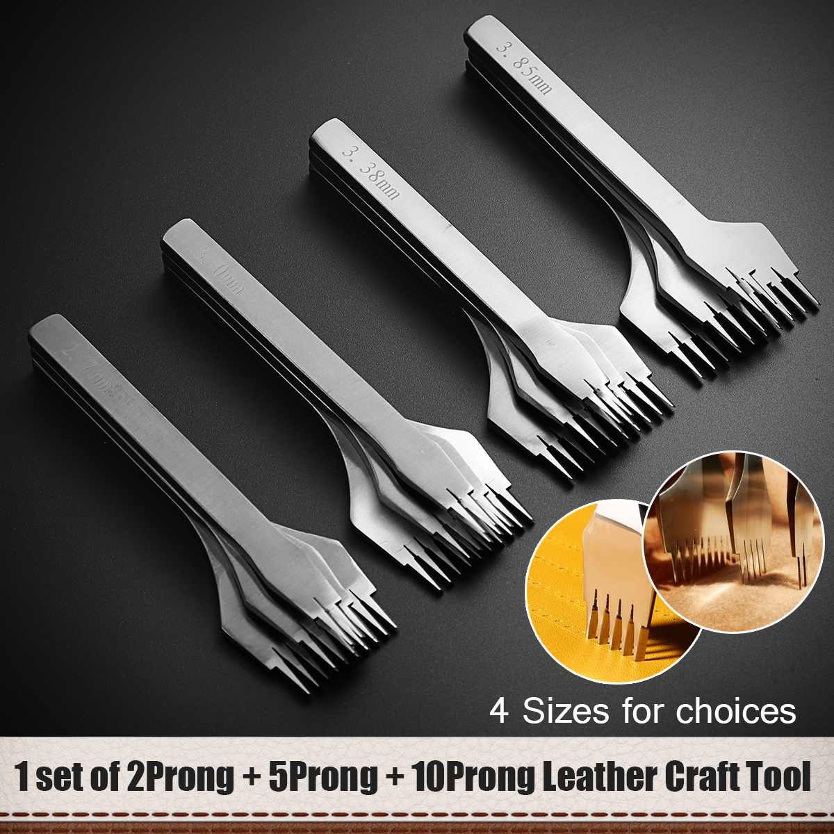 Leather Craft Set Hole Chisel Punches Stitching Steel Tool 3Pcs For Clothe Designer Housewife Strength Steel Strong Texture Neat