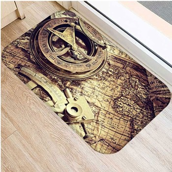 Bathroom Retro Map Navigation Vintage Mat Printed Kitchen Carpet Doormat Rubber Floor Rug Anti-Slip Tapete for Living Room 48238 image