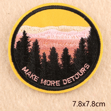 Scenery Round High-quality parches Embroidered Iron on Patches for Clothing DIY Clothes Stickers Badges