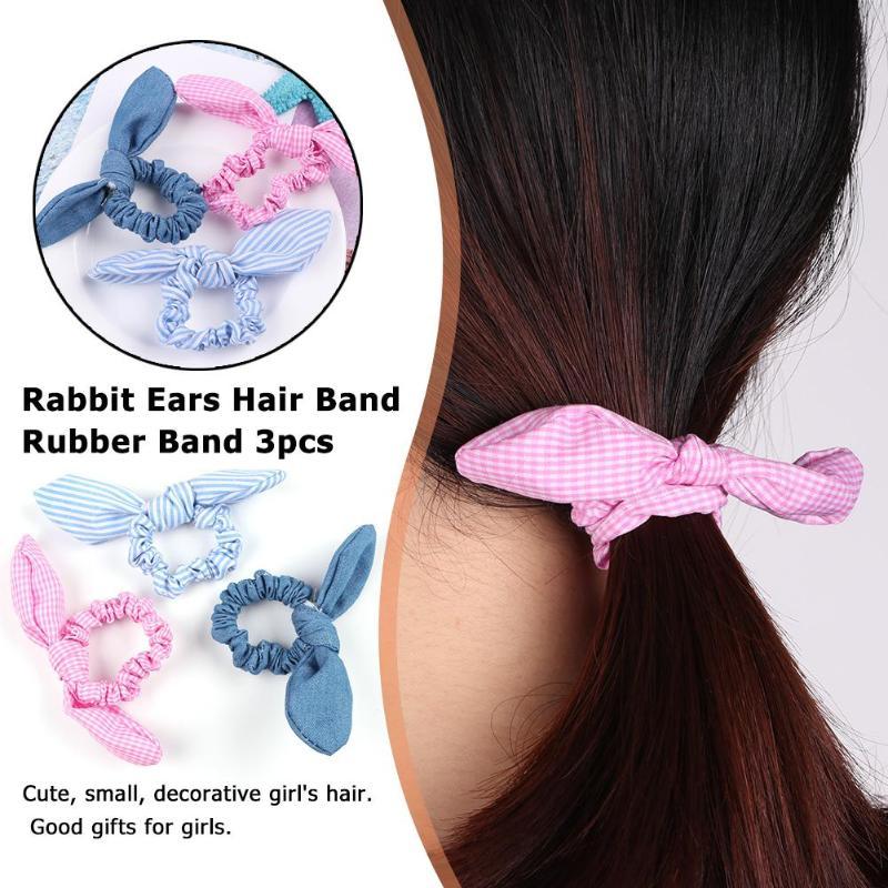 Rabbit Ears Hair Band Elastic Headband Rubber Band Ponytail Holder Fake Flower head wreath Photo Prop For Little Girls