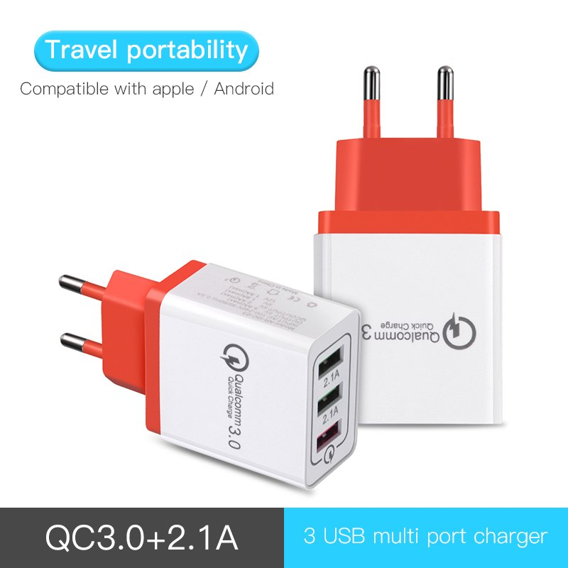 USB Wall Charger Quick Charge 3.0 Fast Charger Fit QC3.0 USB 2.1A Adapter Portable Travel Charger For Phone Mobile Chargers
