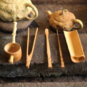Image 2 - Conjunto de acessórios de chá de bambu natural, conjunto de 5 peças de utensílios de chá puer agulha colher filtro de chá infurso vintage feito à mão