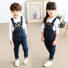 Fashion Children Kids Jeans Jumpsuits Denim Overalls Autumn Spring Jean Pants Clothes YJS Dropship
