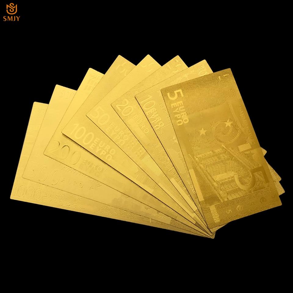 8 pièces/lot Euro or ensemble de billets 5.10.20.50.100.200.500.1000 Euro feuille d'or billets de banque en or 24K Pape argent pour la Collection