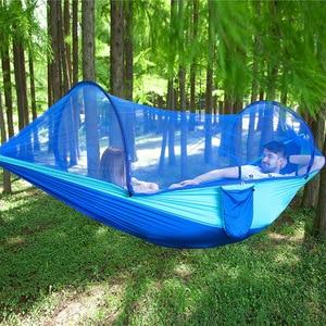 Image 2 - Hamaca de apertura rápida automática para acampar al aire libre, red antimosquitos, defensa Hamak, columpio, 2 personas