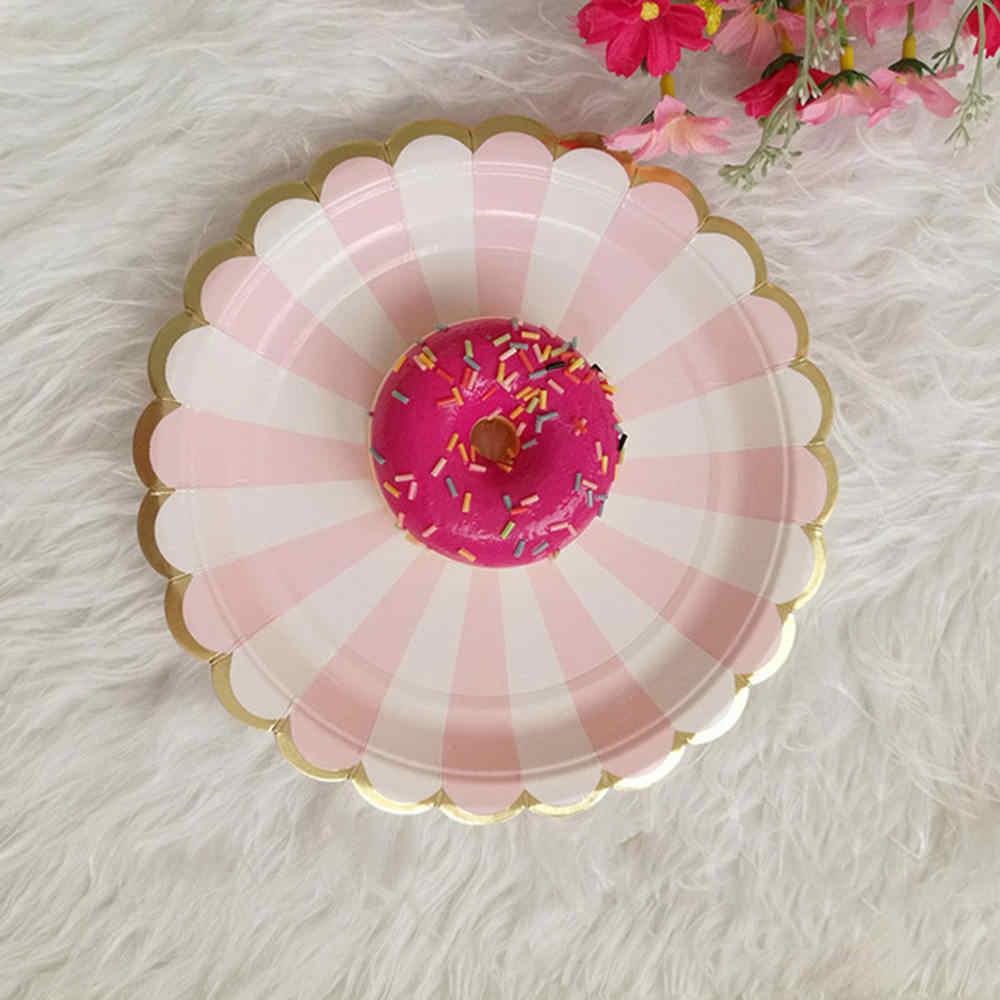 ピンクストライプ使い捨て食器セット紙皿カップサメ誕生日装飾好意飲料結婚式のパーティー用品