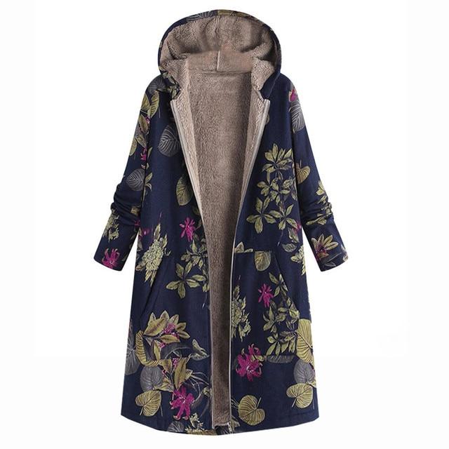 Модные Для женщин пальто теплые зимние пальто женская верхняя одежда Цветочный принт с капюшоном карманы Винтаж пальто оверсайз Для женщин s