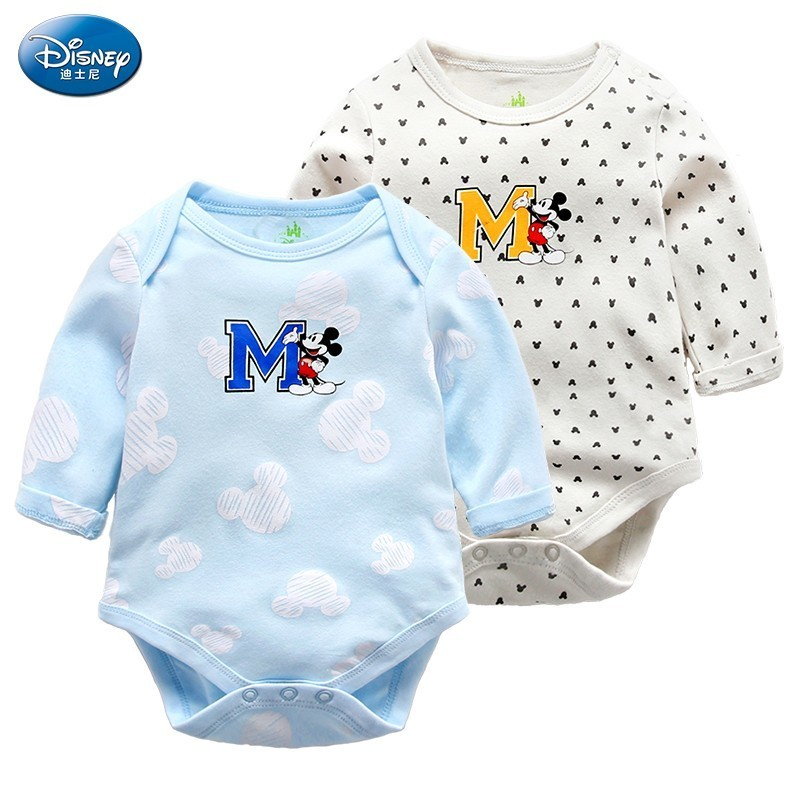 Disney Baby Cartoon Onesies Spring Clothes Newborn Girl Boy Clothes Pullover 0-12 Months Bodysuits For Baby