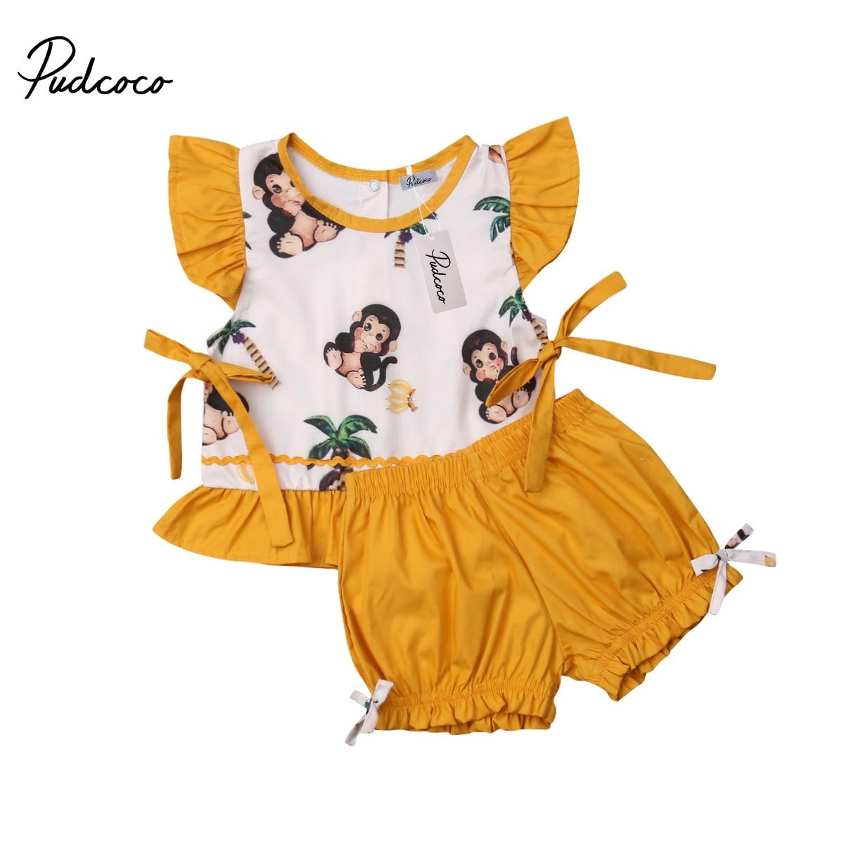 Boys' Clothing 2019 Newborn Infant Toddler Kids Baby Boys Girls Fashion Ruffle Monkey Print Top+shorts Ribbon Design Outfits Clothes 2pcs Reputation First