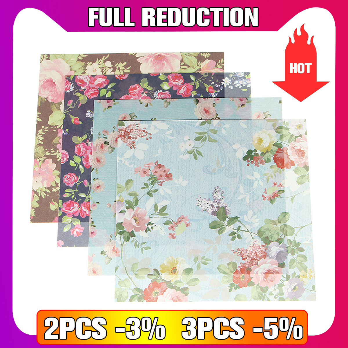 ALI shop ...  ... 32830872249 ... 1 ... KiWarm 24 Sheets Beautiful Floral Folding Paper Origami Art Background Paper Card Making DIY Scrapbook Paper Craft 15x15cm ...