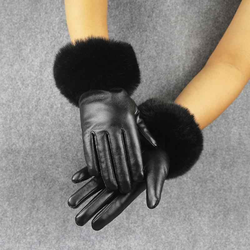 Winter Touchscreen Black PU Leather Gloves Women Faux Fur 2018 Gloves Brand Waterproof Solid Color Gloves Female Warm Gloves