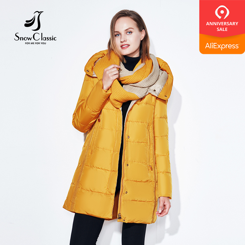 SnowClassic winter jacket women free scarf thick coats female warm   parka   outwear slim soft solid long jackets high quality 2018