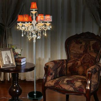 Antique Large Led floor lamp with shade living room cognac crystal floor lighting glass candlestick stand candle light Lambader 1