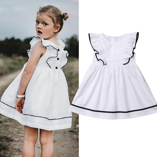 87a0c4c7ccaaf US $5.38 28% OFF|2019 Fashion Baby Girl Dress Summer Ruffles Short Sleeve  Casual Dress Beach White Sundress Children Girl Clothing 1 7 Years-in ...