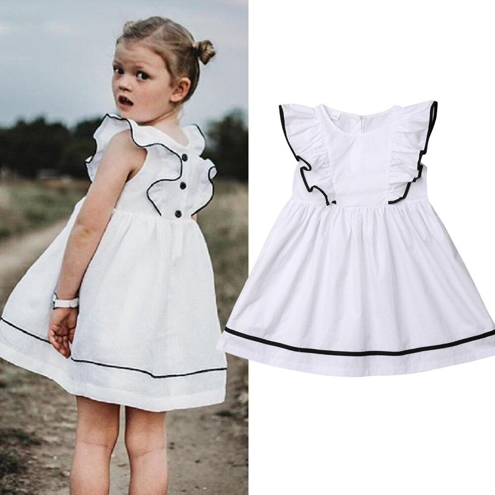 7240fbf61e 2019 Moda Garoto Bebê Menina Vestidos de Verão Ruffles Manga Curta Branco  Casual Praia Vestido de Verão Crianças Roupa Do Bebé que 2-10Y