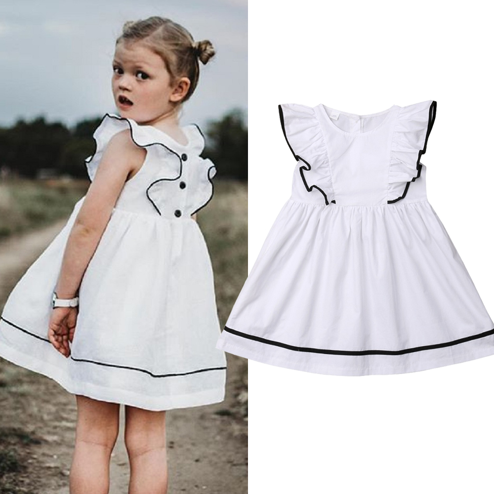 2019 de moda bebé niña vestido de verano volantes de manga corta vestido Casual playa blanco vestido niños niña ropa 1-7 años
