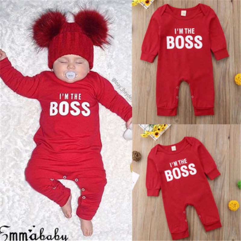 Emmababy Fashion Cute Newborn <font><b>Baby</b></font> Child I'm the BOSS Romper Outfits Christmas Clothing Gifts for Boys Girls <font><b>Clothes</b></font> Drop Ship image