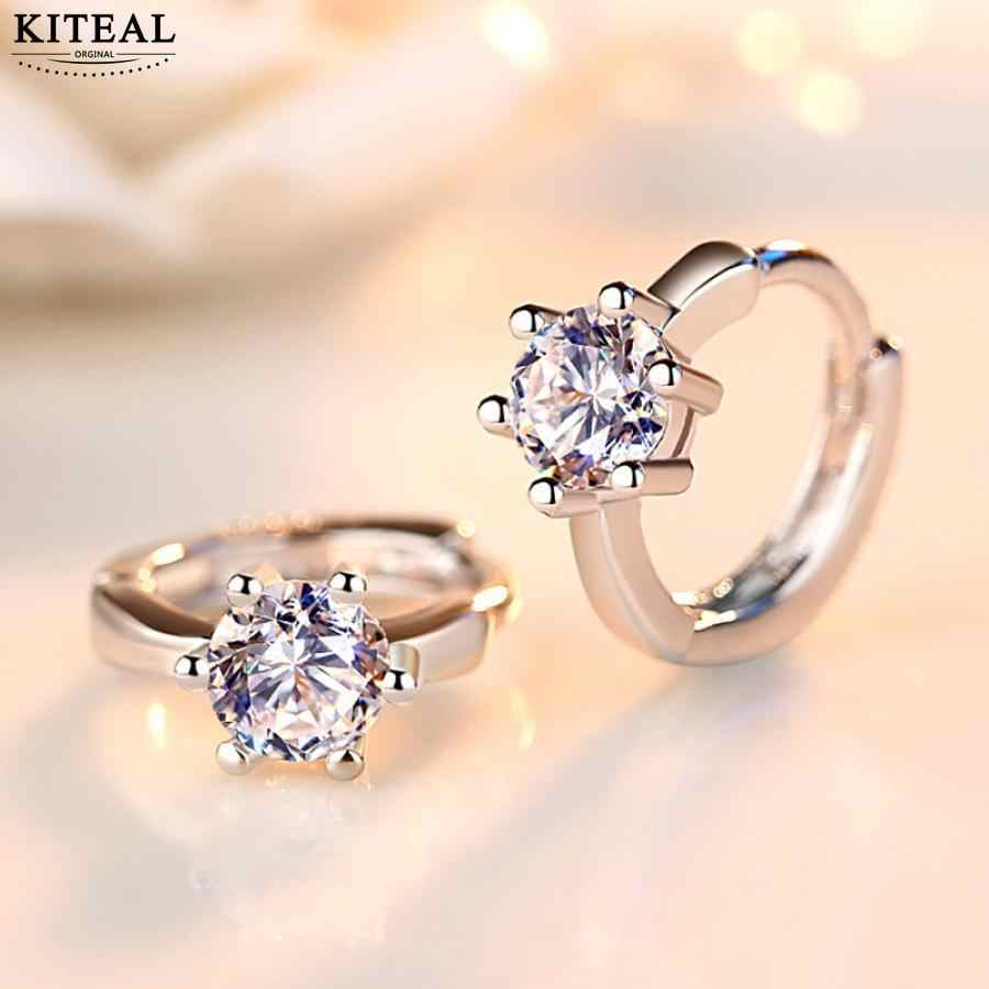 Kiteal 925 jewelry Silver women's Earrings Six Claw Zircon Heart Arrow Round hoop Earrings For Women Best Gift S-E184