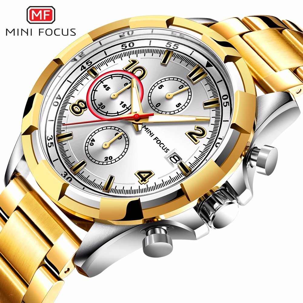 MINI FOCUS 2018 New Fashion Top Brand Mens Watches Business Quartz Watch Stainless Steel Strap Casual Clock Relogio MF0198G new design fashion mens stainless steel band square business quartz analog wrist watches 5v8u 3y3fd
