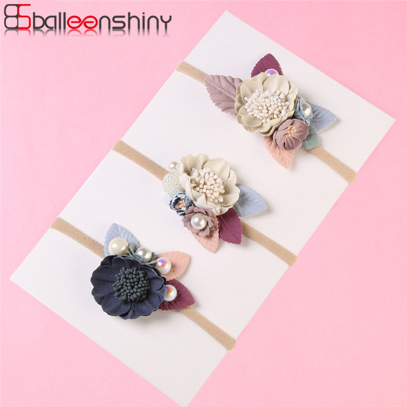 BalleenShiny Fashion Florals Baby Girl Headband Newborn Baby Elastic Princess Hairbands Child Kids Cute Headwear Gifts Turban