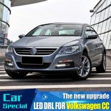 1 çift için VW PASSAT CC 2009 2010 2011 2012 2013 12V LED araba DRL gündüz farları ile sis lambası delik kapağı
