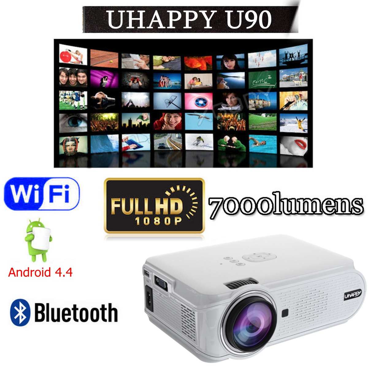 Zuinig U90 7000 Lumens 1080 P Hd Wit Draagbare Projector Android 4.4 3d Led Home Theater Cinema