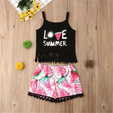 PUDCOCO Toddler Kid Baby Girl Clothes Tank Crop Top Vest T Shirt Shorts Pants Outfit Set