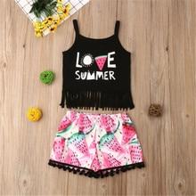 PUDCOCO Toddler Kid Baby Girl Clothes Tank Crop Top Vest T Shirt Shorts Pants Outfit Set недорого